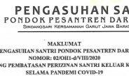 Maklumat Tentang Pembatasan Perizinan Santri Keluar Kampus Selama Pandemi COVID-19